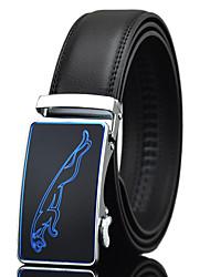 Men's Simple Jaguar Print Black Genuine Leather Alloy Automatic Buckle Waist Belt Work/Casual/Party All Seasons