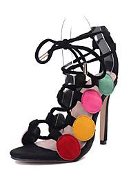Women's Sandals Fleece Summer Lace-up Stiletto Heel Rainbow 4in-4 3/4in