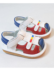 Girls' Flats First Walkers Cowhide Spring Fall Outdoor Casual Walking Magic Tape Low Heel Screen Color Blue Red Flat