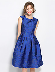 SUOQI Women Dresses Round Neck Sleeveless Knee-length A Line Dress Blue Slim Accept Waist Jacquard Summer Dress