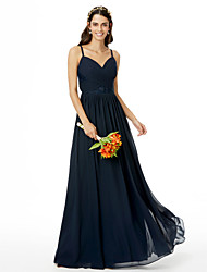 A-Line Spaghetti Straps Floor Length Chiffon Bridesmaid Dress with Lace Criss Cross Pleats by LAN TING BRIDE®
