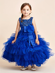 Ball Gown Ankle Length Flower Girl Dress - Satin Tulle Jewel with Crystal Applique Beading Bow(s) Flower(s) Sash / Ribbon Tiered