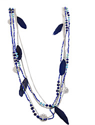 Fashion Women Bohemia Multi Rows Chain Seedbeads Feather Tassel Handmade Necklace
