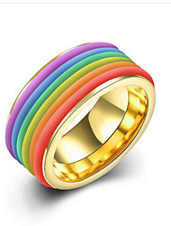 May Polly   European and American fashion lovers ring Rainbow Titanium Ring