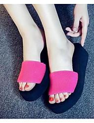 Damen Slippers & Flip-Flops Stoff Frühling Schwarz Fuchsia Flach