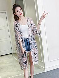 Mujer Simple Casual/Diario Camiseta,Escote en Pico Floral Manga Corta Poliéster