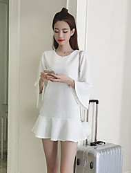 Women's Casual/Daily A Line Dress,Solid Round Neck Mini Long Sleeve Cotton Summer Low Rise Micro-elastic Medium