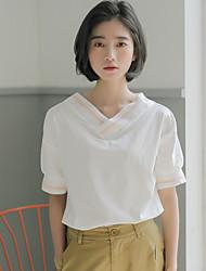 Damen Gestreift Niedlich T-shirt,V-Ausschnitt Sommer Kurzarm Baumwolle