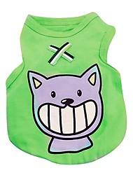 Gato Cachorro Camiseta Colete Roupas para Cães Casual Animal Vermelho Verde Azul Rosa claro