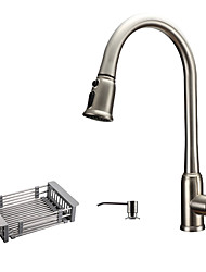 Antique Art Deco/Retro Modern Tall/High Arc Pull-out/Pull-down Standard Spout Vessel Widespread Pullout Spray with  Ceramic Valve Kitchen Faucet