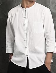 Для мужчин Повседневные Рубашка Круглый вырез,Простое Шинуазери (китайский стиль) Однотонный Рукав ¾,Хлопок Лён