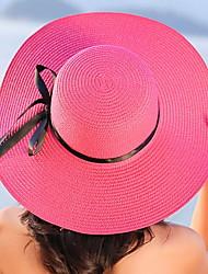 Feminino Casual Palha Verão De Palha,Sólido Côr Pura Listas Laço