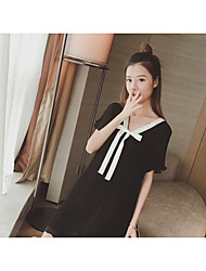 Women's Party A Line Dress,Solid Round Neck Knee-length Short Sleeve Silk Summer Low Rise Micro-elastic Semi-opaque
