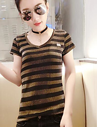 Damen Gestreift Einfach T-shirt,Rundhalsausschnitt Kurzarm Acryl