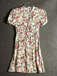 Women's Casual/Daily Chinoiserie Tunic DressGeometric V Neck Maxi Short Sleeve Cotton Summer Mid Rise Micro-elastic MediumTop Length Sweaters Type Occ