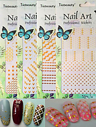 1pcs New Fashion Nail Art 3D Sticker Mixed White&Gold Colorful Pattern Design Creative Decoration BP201-210