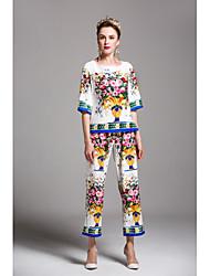 Damen Druck Niedlich Ausgehen Lässig/Alltäglich Shirt Hose Anzüge,Rundhalsausschnitt Frühling Sommer ½ Ärmel