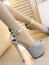 Для женщин Обувь на каблуках Полиуретан Весна Золотой Серебряный Более 12 см