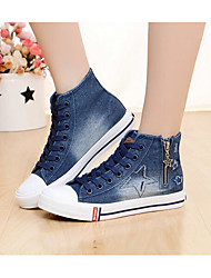 Women's Sneakers Comfort Canvas Spring Casual Comfort Light Blue Navy Blue Flat