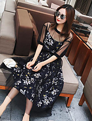 Women's Casual/Daily Simple Sheath Dress,Floral Round Neck Midi Short Sleeve Silk Cotton Summer High Rise Micro-elastic Thin