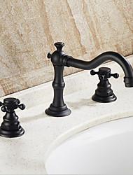 Traditionnel/Vintage Vasque Séparé 3 trous for  Bronze huilé , Robinet lavabo