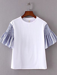 Damen Einfarbig Einfach Alltag T-shirt,Rundhalsausschnitt Kurzarm Baumwolle