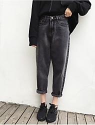 Women's High Rise Micro-elastic Jeans Pants,Simple Harem Solid