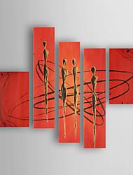 Pintada a mano Abstracto Horizontal,Moderno/Contemporáneo Nueva llegada Cinco Paneles Lienzos Pintura al óleo pintada a colgar For
