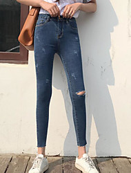 Women's High Rise strenchy Jeans Pants,Street chic Skinny Solid