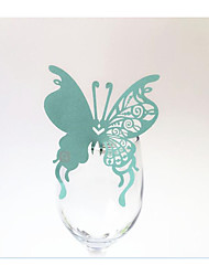 20 / Group The Butterfly Hollow Cup Card Creative Glass Card Wedding Party Laser Paper Card