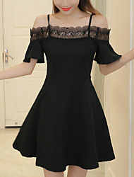 Women's Slim Strapless chic A Line Dress Solid Patchwork Lace Cut Out Ruffle Boat Neck Mini Short Sleeve Summer High Rise