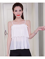 Women's Going out Cute Blouse,Solid Strap Sleeveless Others