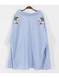 Women's Daily Simple Shirt,Solid Embroidery Shirt Collar Long Sleeve Others
