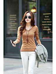 Damen Solide Sexy Einfach T-shirt,V-Ausschnitt Langarm Baumwolle