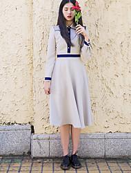Women's Casual/Daily A Line Dress,Color Block Shirt Collar Midi Long Sleeve Cotton Linen Summer High Rise Micro-elastic Thin