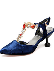 Women's Heels Basic Pump Horse Hair Summer Wedding Party & Evening Dress Basic Pump Split Joint Stiletto Heel Blue Ruby Black 1in-1 3/4in