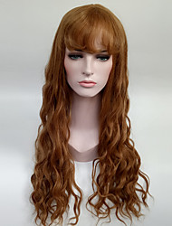 Women's Fashionable Brown Color Long Length Capless Synthetic Wigs