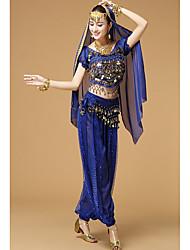 Belly Dance Outfits Women's Silk Butterfly Design 2 Pieces Short Sleeve High