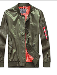 Men's Daily Modern/Comtemporary Spring Summer Jacket,Solid Stand Long Sleeve Regular Polyester
