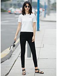 Feminino Camiseta Diário Casual SimplesBordado Náilon Chinês Decote Redondo Manga Curta