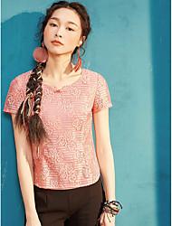 Dámské Jednobarevné Tisk Běžné/Denní Jednoduché Tričko Bavlna Polyester Kulatý Krátký rukáv