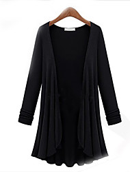 Women's Plus Size Casual/Daily Simple Cardigan,Solid Round Neck Long Sleeves Cotton Fall Thin Stretchy