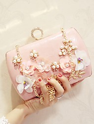 Women Bags All Seasons PU Evening Bag with Flower for Wedding Event/Party Party & Evening White Black Pale Pink Apricot
