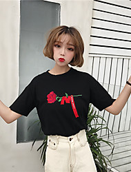 Damen Stickerei Einfach Niedlich Lässig/Alltäglich T-shirt,Rundhalsausschnitt Kurzarm Baumwolle
