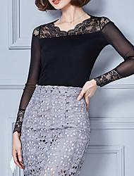Damen Solide Einfach T-shirt,V-Ausschnitt Langarm Baumwolle