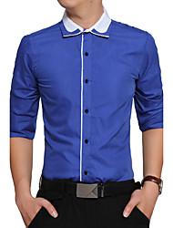 Для мужчин Для вечеринок День рождения Повседневные На каждый день Офис Большие размеры Для улицы Все сезоны Рубашка Рубашечный воротник,