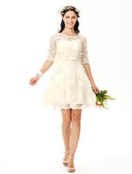 A-ligne jewel neck short / mini dentelle robe de demoiselle d'honneur avec arc (s) fleur (s)