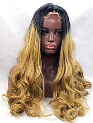 Long Wavy Black Ombre Golden Blonde Hair Heat Resistant Synthetic Lace Front Wigs Cheap Female Wigs for Women Glueless Wavy Hair