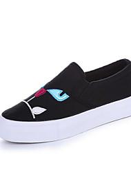 Damen Loafers & Slip-Ons Leinwand Frühling Weiß Schwarz Burgund Flach