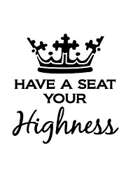 Wall Stickers Wall Decas Style Highness English Words & Quotes PVC Toilet Stickers